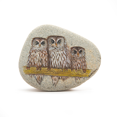 Three Owls Painted Stone